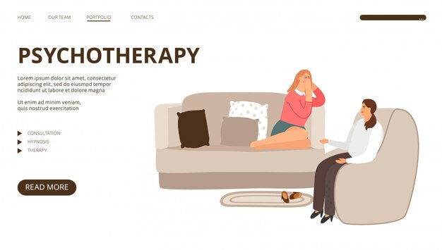 Page de destination de la psychothérapie