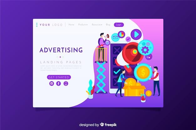Page de destination de la publicité