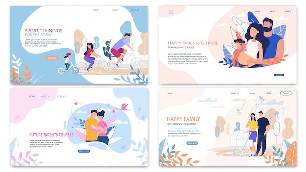 Page de destination rapide définie, happy inscription family