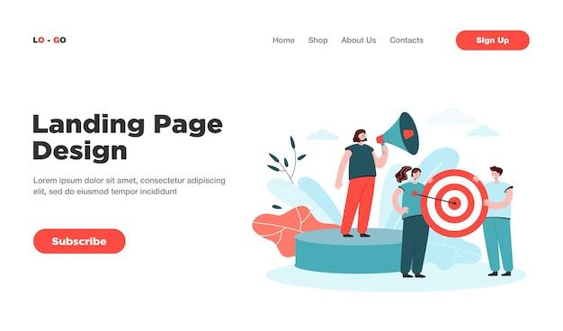 Page de destination de la réalisation des objectifs de l'équipe commerciale. équipe travaillant sur la stratégie commerciale et marketing et la page de destination de l'objectif