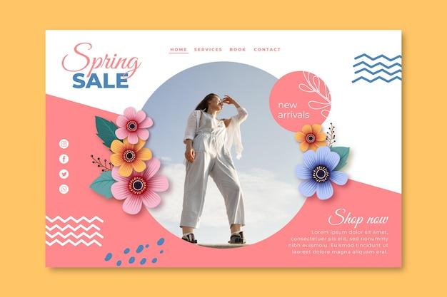 Page de destination réaliste de la vente de printemps