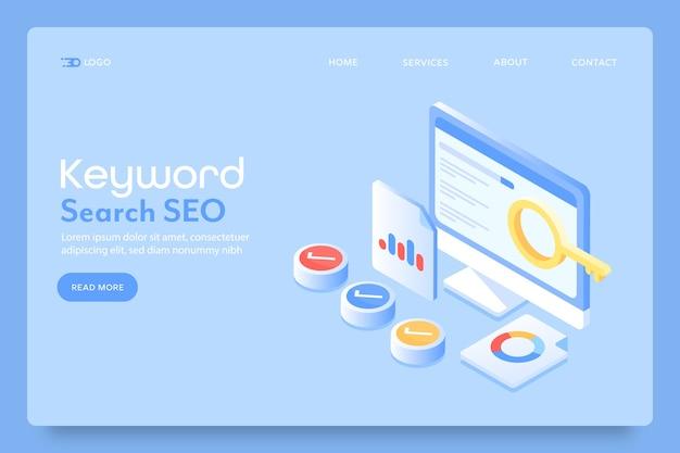 Page de destination de recherche de mots clés seo