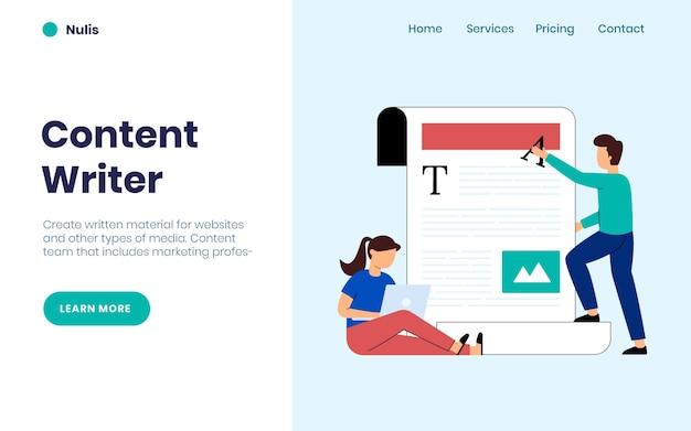 Page de destination des rédacteurs de contenu et des blogueurs
