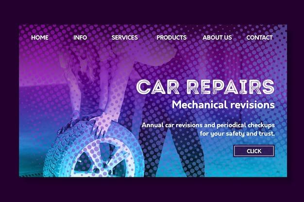Page de destination de réparation de voiture de mécanicien