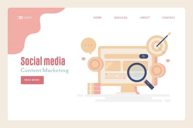 Page de destination des réseaux sociaux