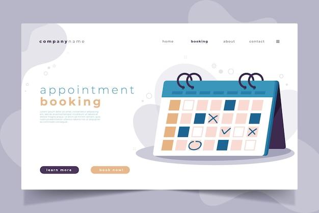 Page de destination de réservation de rendez-vous