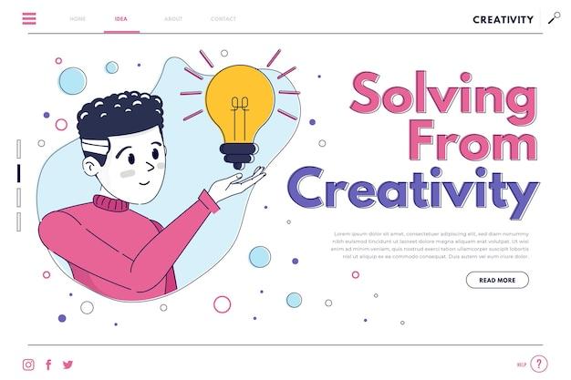 Page de destination de résolution créative plate organique