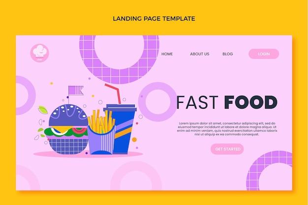 Page de destination de restauration rapide au design plat