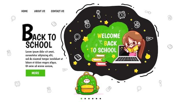 Page de destination de retour à l'école dessinée à la main