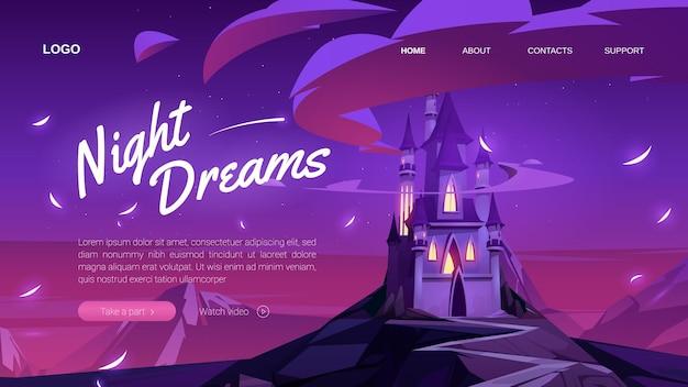 Page de destination des rêves nocturnes