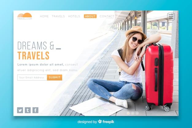 Page de destination rêves et voyages avec photo