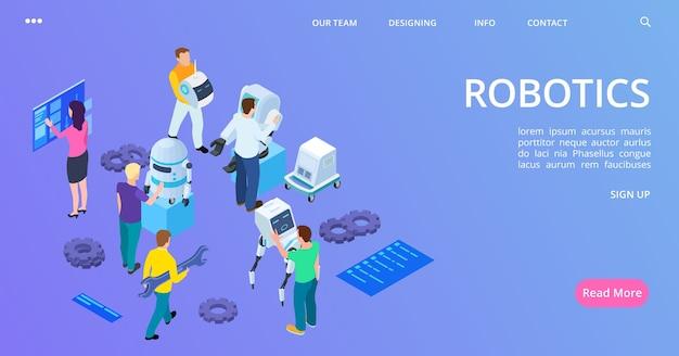 Page de destination de la robotique isométrique