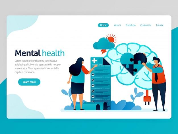 Page de destination de la santé mentale. les gens vérifient mentalement et psychologiquement. puzzle coeur. traitement du cerveau et thérapie de counseling. caricature de vecteur pour les applications de modèle de page de destination de l'en-tête de la page d'accueil du site web
