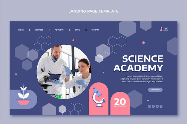 Page de destination scientifique de style plat