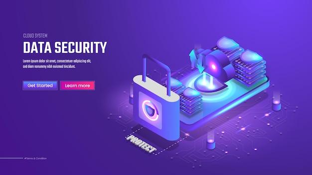 Page de destination de la sécurité des données isométriques 3d