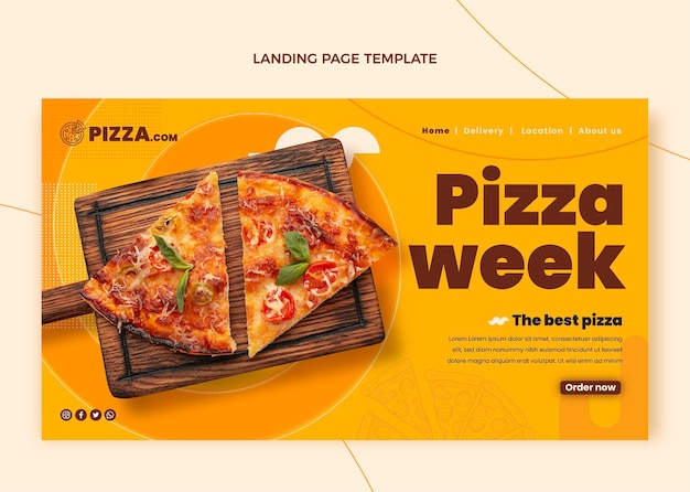 Page de destination de la semaine de la pizza à plat