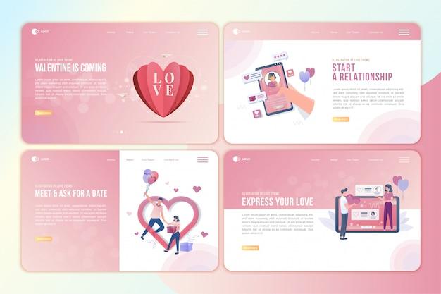 Page de destination sertie d'illustration de l'histoire d'amour