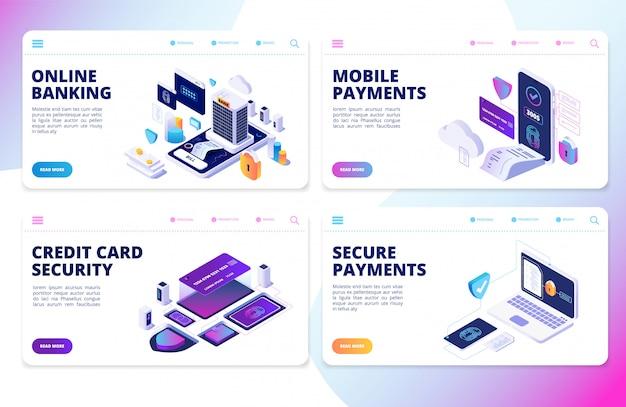 Page de destination des services bancaires en ligne. paiements mobiles, bannières vectorielles de sécurité de carte de crédit
