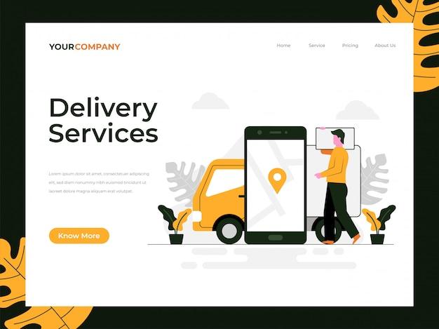 Page de destination des services de livraison