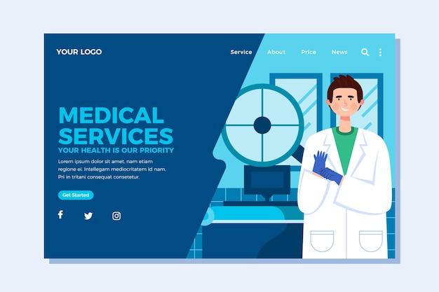Page de destination des services médicaux de conception plate