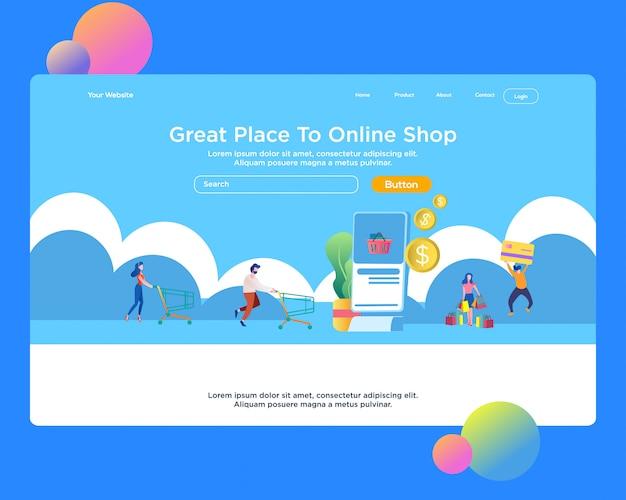 Page de destination. shopping en ligne