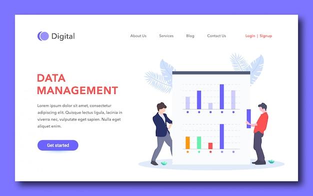 Page de destination simple pour la gestion des données
