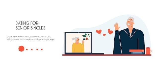 Page de destination d'un site de rencontre pour personnes âgées un homme et une femme ne se rencontrent pas en ligne modèle de site web