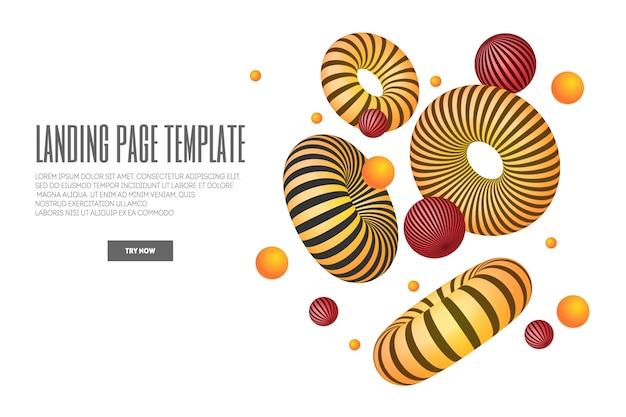 Page de destination de site web ou d'application mobile avec illustration de formes abstraites 3d et de tore. fond géométrique minimal.