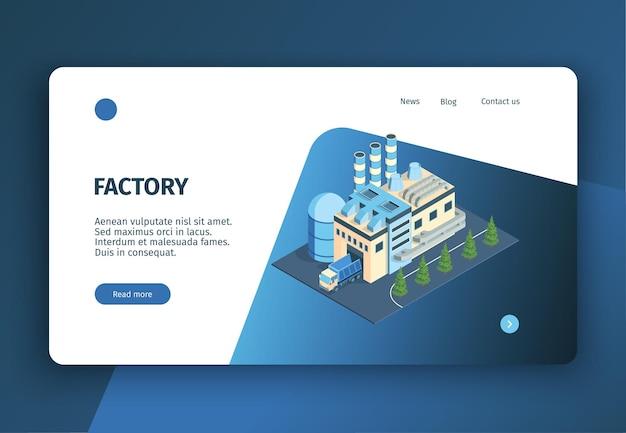Page de destination de site web de bannière de concept d'usine d'usine industrielle isométrique avec des liens et des boutons cliquables de texte modifiable
