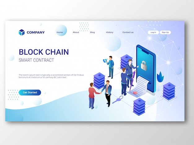 Page de destination smart contract blockchain