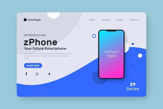 Page de destination avec smartphone