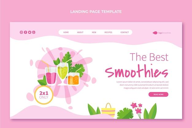 Page de destination des smoothies au design plat