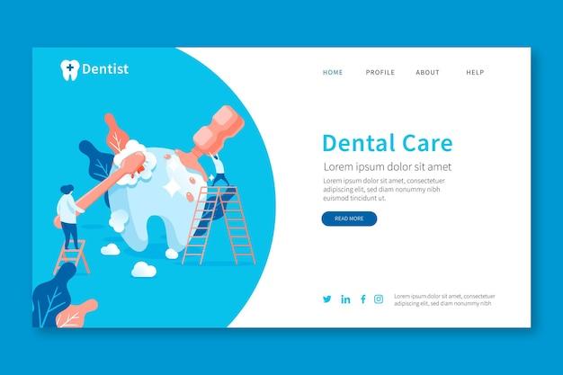 Page de destination de soins dentaires de dessin animé