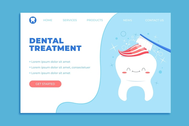 Page de destination des soins dentaires de dessin animé