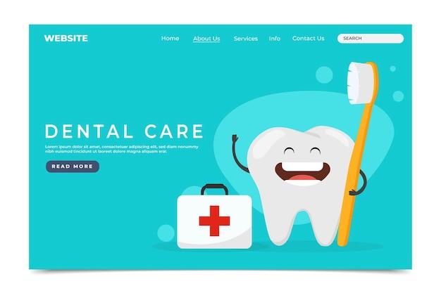 Page de destination des soins dentaires plats