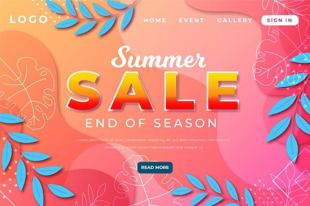 Page de destination des soldes d'été de fin de saison