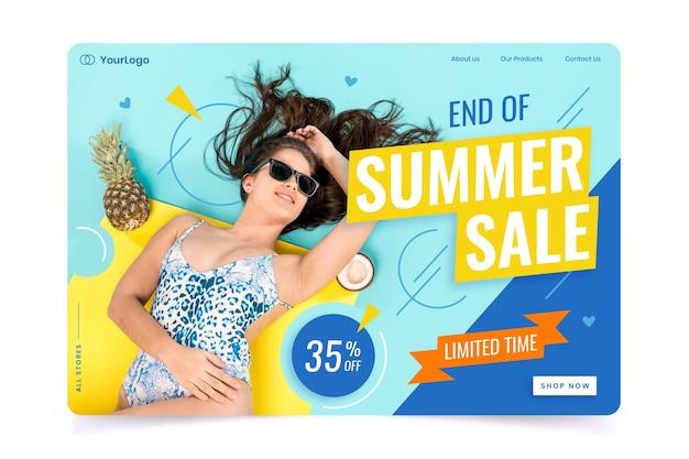 Page de destination des soldes de fin d'été avec photo