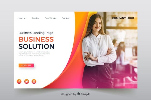 Page de destination de la solution commerciale avec photo