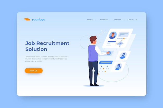 Page de destination de la solution de recrutement d'emploi