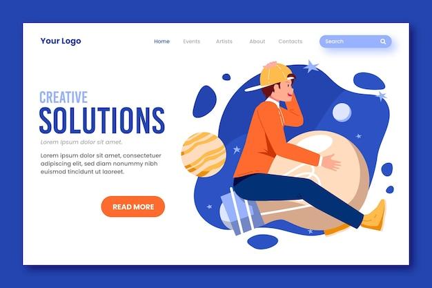 Page de destination des solutions créatives de conception plate organique