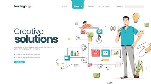 Page de destination des solutions créatives plates organiques
