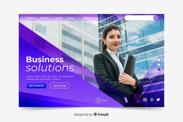 Page de destination des solutions métier