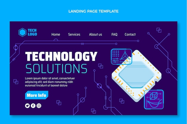 Page de destination des solutions technologiques de conception plate