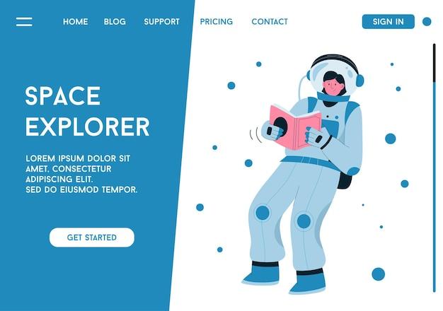 Page de destination de space explorer, astronaute