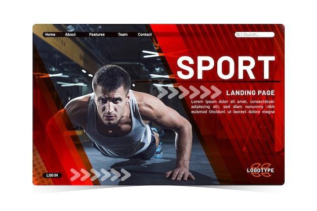 Page de destination sport avec photo