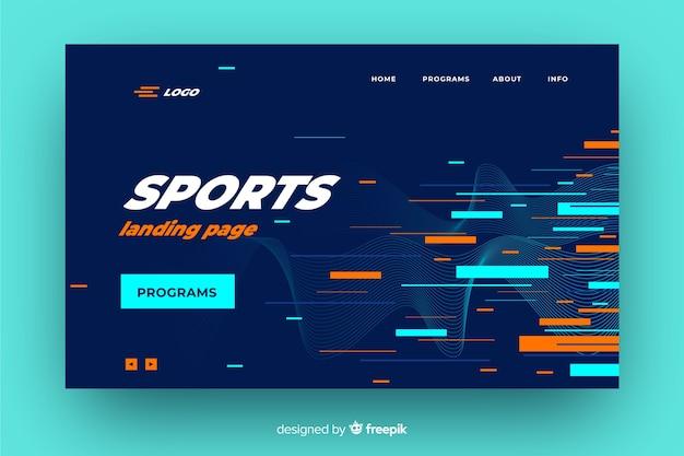 Page de destination sportive géométrique lumineuse