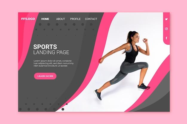 Page de destination sportive avec modèle d'image