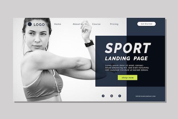 Page de destination sportive avec modèle de photo