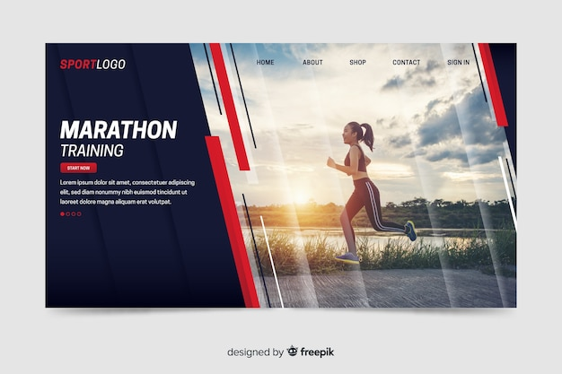 Page de destination sportive avec photo