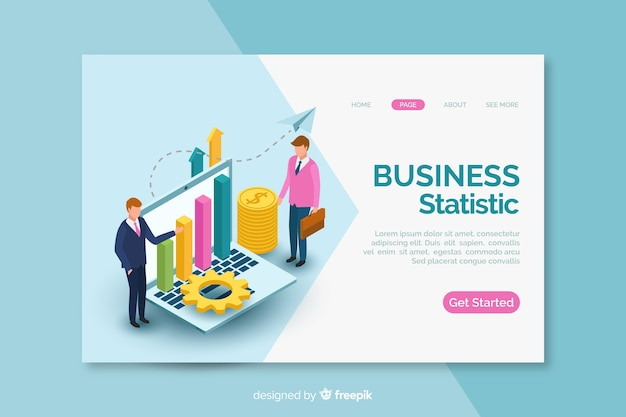 Page de destination des statistiques commerciales isométriques